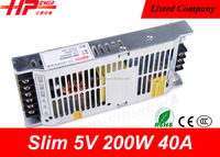 Guangzhou 18 years factory slim led driver constant voltage single output power supplies 200w 110v ac to 5v dc power supply