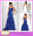La alta calidad de la sirena del Organza de las colmenas con cuentas rajó Sweetheart vestido de novia de color azul (QU0721)