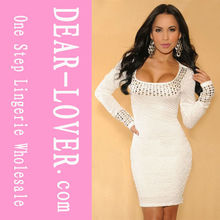 de alta calidad al por mayor blanco manga larga vestidos de moda nueva 2013