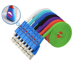 factory promotional cheap colorful led smiley face micro usb cable for smart phone (OEM ODM)