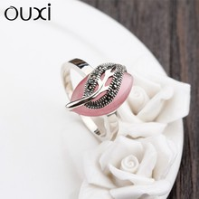 OUXI supply antique silver ring new design ladies finger sex ring