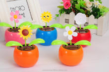 solar apple solar energy flower solar powered swing flip flap dancing flowers, car decorative gift sun doll factory wholesale
