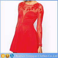 Plunging Summer Patchwork Red Mesh Long Sleeve Sexy Club Dress