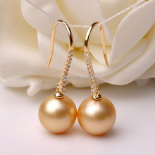South sea pearl earrings newest design for elegent women golden color 10-11mm pearl