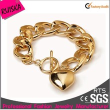 New Fashion Metal Regula Bead Heart Chain Gold Plated Bracelets Luxury For Women Bracelet Jewelry
