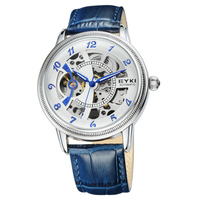 Full Automatic Skeleton Men Wrist Watch Genuine Leather Band Mechanical Men's Watches