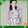 flor de seda blusa de moda los modelos de grasa las mujeres blusa de gasa