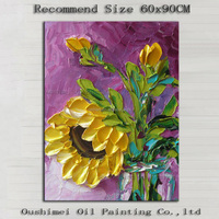 Wholesale Price Supply Good Quality Abstract Knife Painting Flower Picture In Oil Hand-painted Modern Abstract Flower Paintings