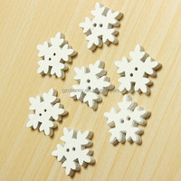 25Pcs White Wood Xmas Christmas Snowflake Buttons 2 Holes Sewing Scrapbooking DIY Popular Featured