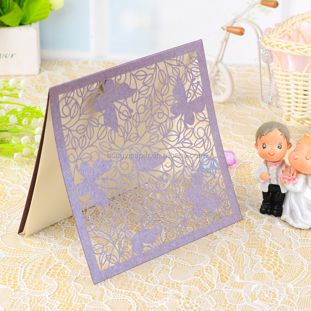 Em branco inserir wordings cartão de convite de casamento cartão de convite de casamento corte a laser roxo