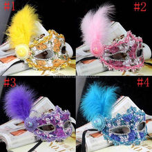 High quality halloween party mask custom lace mask with feather decoration MK4014