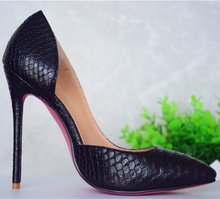 Black Color Snake Skin Pattern Sexy Red/Pink/Gold Bottom HIgh Heel Shoes China Factory Customized High Heel Pumps