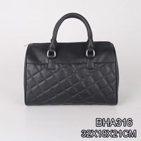 China manufacture classic style ladies Designer big black quilted PU handbag