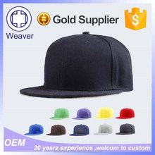 Wholesale cheap custom flat brim simple 100 cotton custom blank snapback cap in sport caps hats