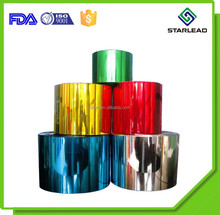 Brilliant vibrant mirror finish Metalized Polyester Film coated with various colors