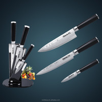High-end design Japanese VG10 damascus steel kitchen knife set with double forged G10 handle