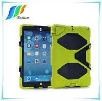 For iPad 5 air Silicone Heavy Duty military Hybrid rugged Belt clip Holster kickstand shockproof waterproof case