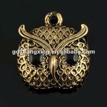 Wholesale bird pendant,Owl pendant with gemstone eyes19*17mm A14928