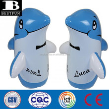 China 3D bop bag inflatable dolphin water toys pvc animals novelties blow up office desk mini tumbler customized inflatables