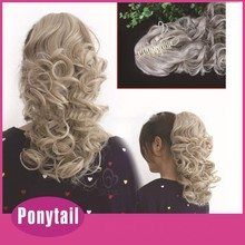 Factory price hair accessories ponytail Best Selling ponytail Blonde claw clip and drawstring curly ponytail