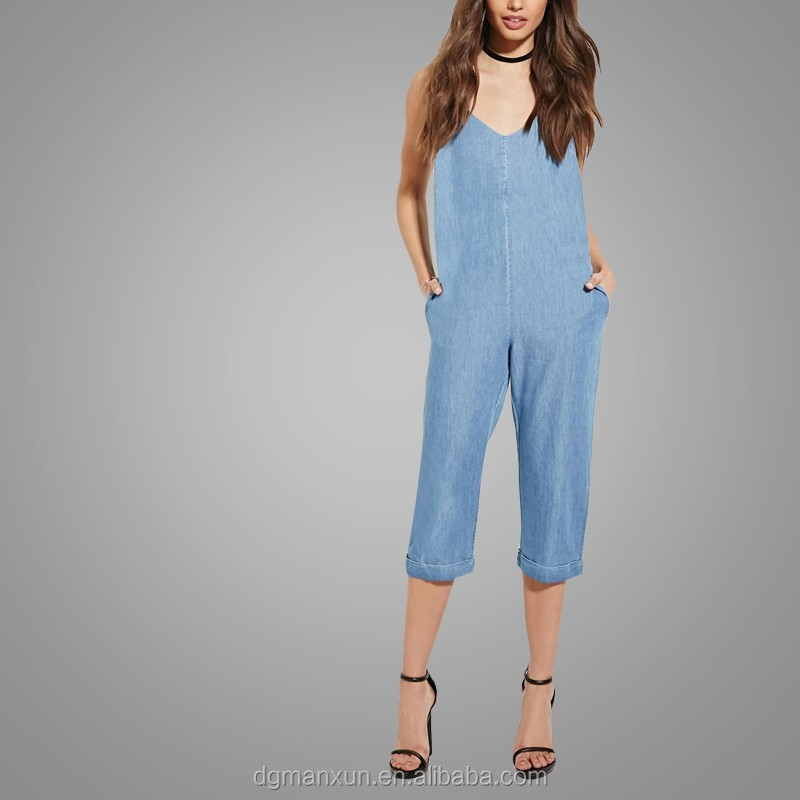 Custom Made Cami Jumpsuit Jeans Casual Loose Chambray Jumpsuit 2016 New Fashion Apparel (3).jpg