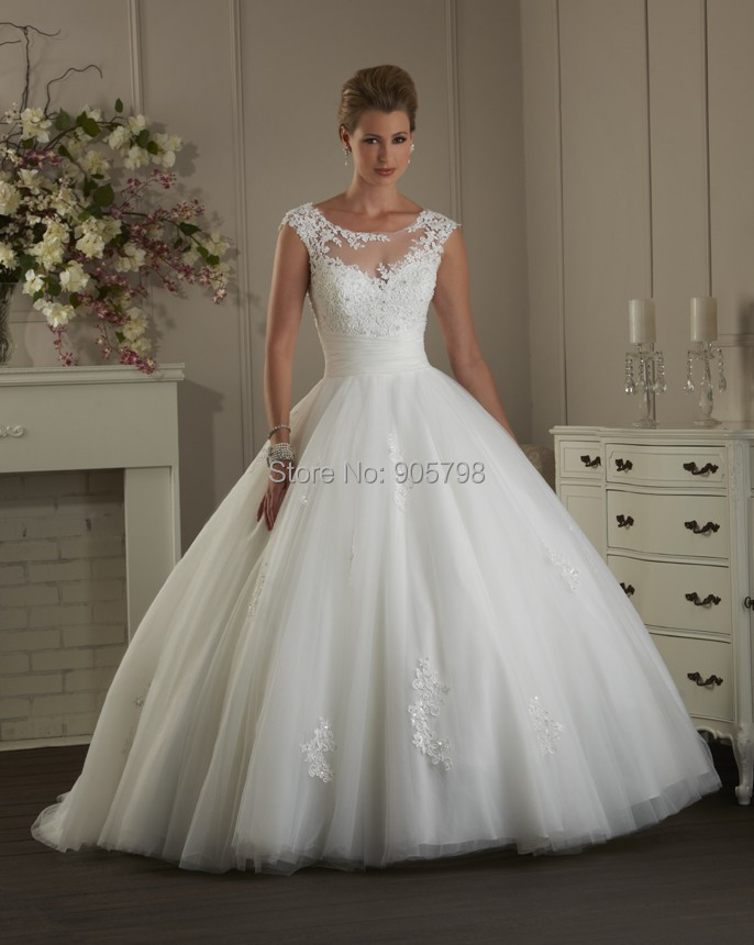 Lace Ball Gown Wedding Dresses With Cap Sleeves Cap Sleeve Ball Gown Lace