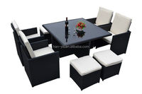 large size rattan chairs and table glass top round outdoor dinning set