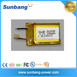 Factory price 302030 3.7v 140mah used car battery for electronic device