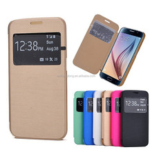 Classic design leather case with window phone leather case cover for Samsung S6