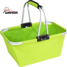 Folding shopping basket with aluminum frame and 600D polyester basket