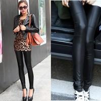 New Women Fashion PU Leather Legging Stretch Skinny Leggings tight black leather pants 10695