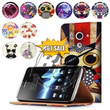 OEM Custom wallet stand printed pu leather flip cover case for sony xperia lt26w acro s