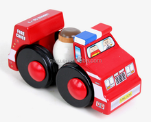 Mini Wooden Fire Station Play Set Toy