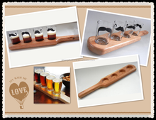 Wooden Beer paddles sampler with 3 holes beer flight glass cup tray for bar tools