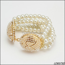 Moustache Carved Gold Plated Pearl Beaded Stretch Bracelet