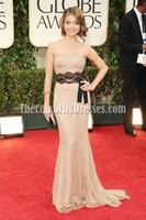 Sarah Hyland Lace Strapless Formal Prom Dress Golden Globes Awards 2012