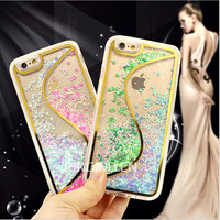 S Line double color Love-heart solid quicksand cell phone case for iphone 6 hard pc cover tpu bumper case