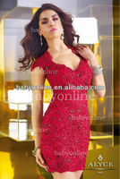 BO2392 Sheath Sexy Short Mini Red Lace Beadings Cocktail Party Dresses 2013 Hot Short Dress Wholesale