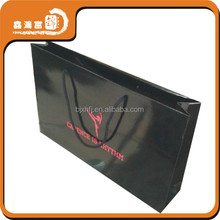 2015 shopping black custom retail glossy paper bags