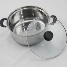 16 / 18 / 20 / 22 / 24 cm de la comba de acero inoxidable olla de cocina con tapa de vidrio