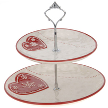 2 Tier with Carry Handle Porcelain Cake Stand