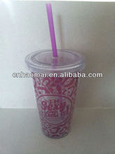XB016 16OZ plastic double wall tumbler with straw