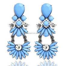 Bohemian Retro Blue Resin Pave Crystal Chandelier Earrings Flower Shaped With Chains For Women Summer Dresses
