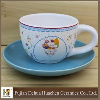 cute pattern white ceramic cup and plate