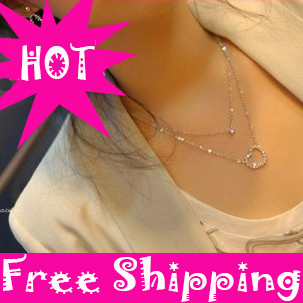Hight Qulity Fashion/silver long Double layer hear...