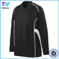 Yihao 2015 new fashion polyester/spandex mens long sleeve contrast color gym t shirt custom blank t-shirt