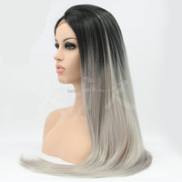 Wholesale synthetic grey lace front wig