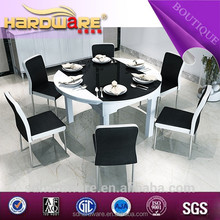 china suppliers modern design wooden extendable round glass dining table