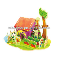 Wholesale DIY Wooden Educational Puzzle Doll House toy for kids