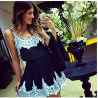 женщины белое кружево лоскутное Черное платье мило vestidos lq4747